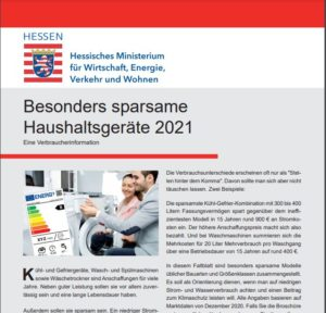 "Broschüre: ""Besonders sparsame Haushaltsgeräte 2021"""